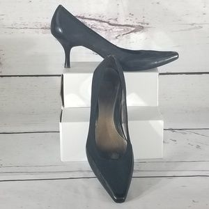 Black Leather and Stretch Fabric Pumps